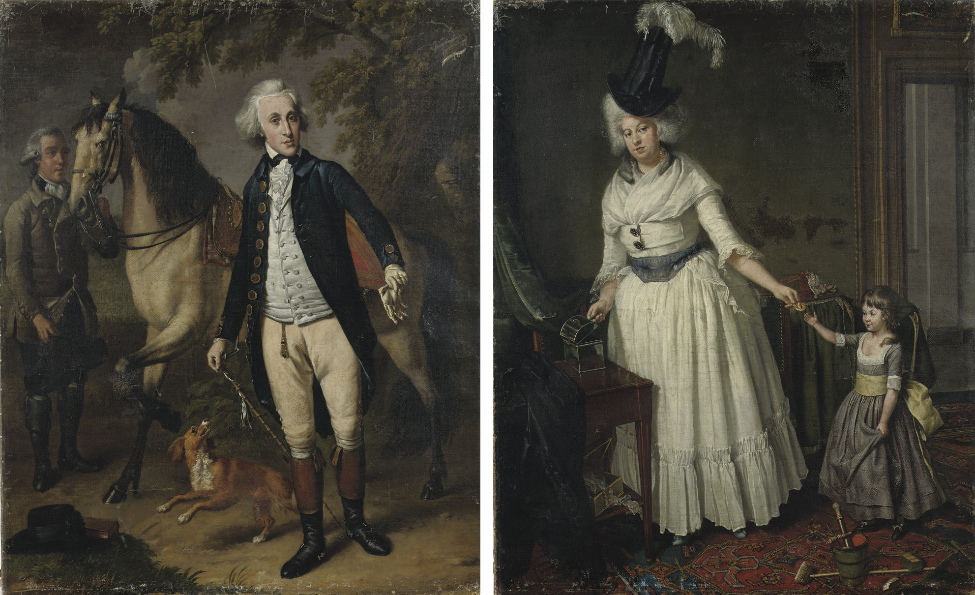 Portrait of Jan van Walre, full length, in a riding costume with his dog, his horse and a servant by his side; and Portrait of Maria Kops, full length, in a white dress and elaborate hat with her daughter by her side