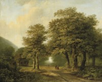 A forest with figures on a sunlit path