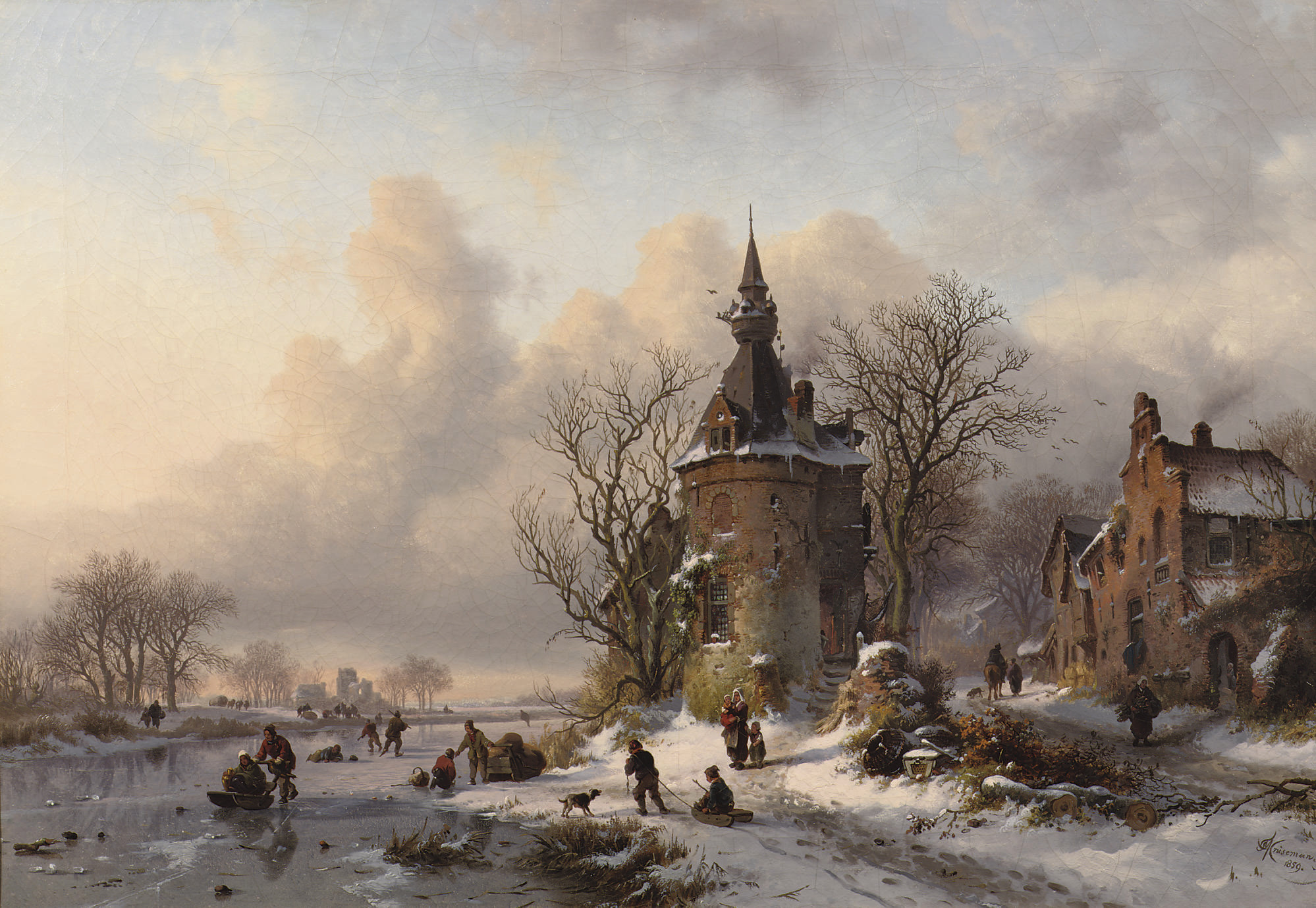 A winter landscape with skaters near a castle