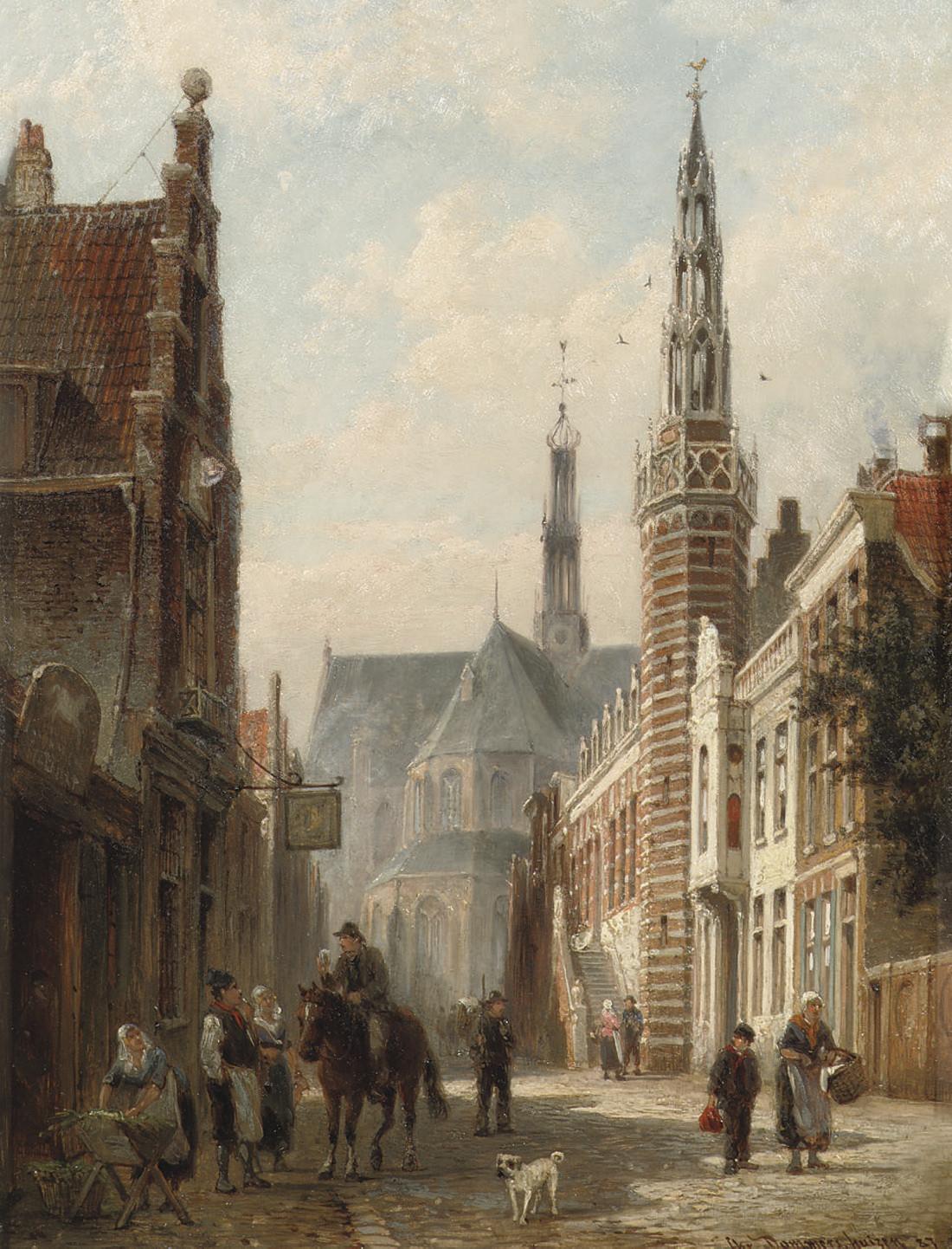 Hotel de Ville d'Alkmaar, La Hollande: the Langestraat with the townhall and the St Laurens church, Alkmaar