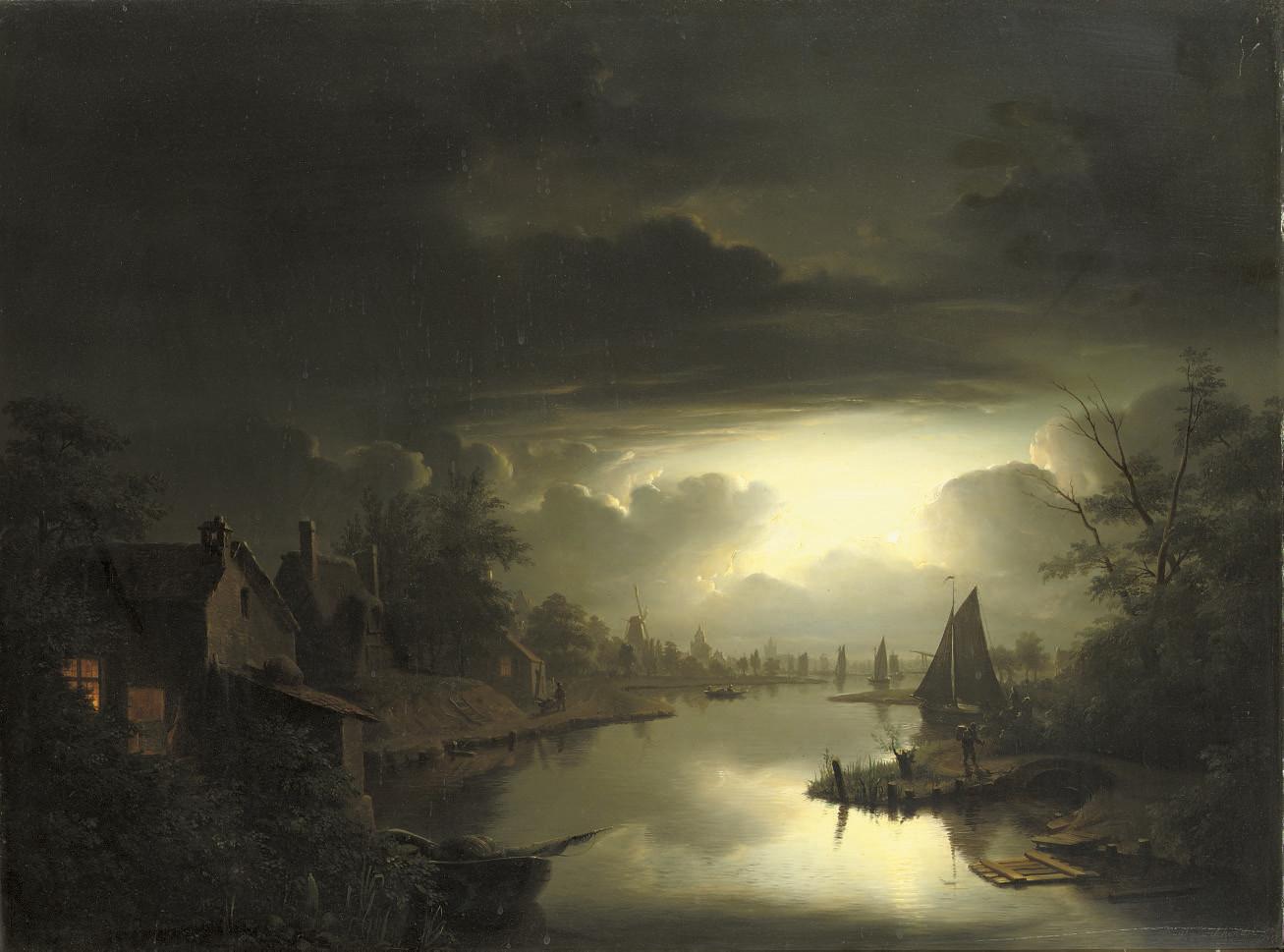 Maaneffect: a Dutch riverside-town by nightfall