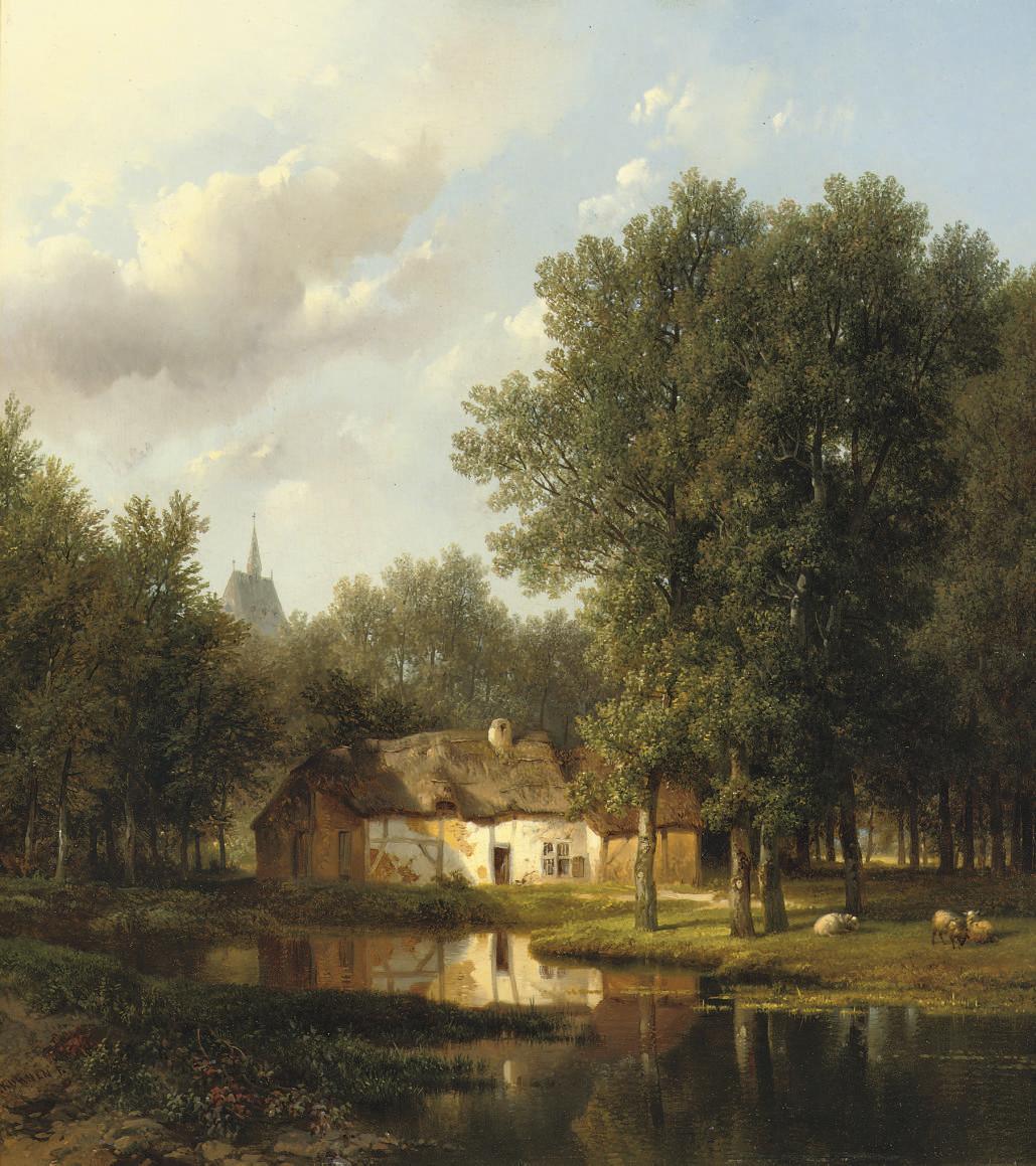 A sunlit cottage near a pond