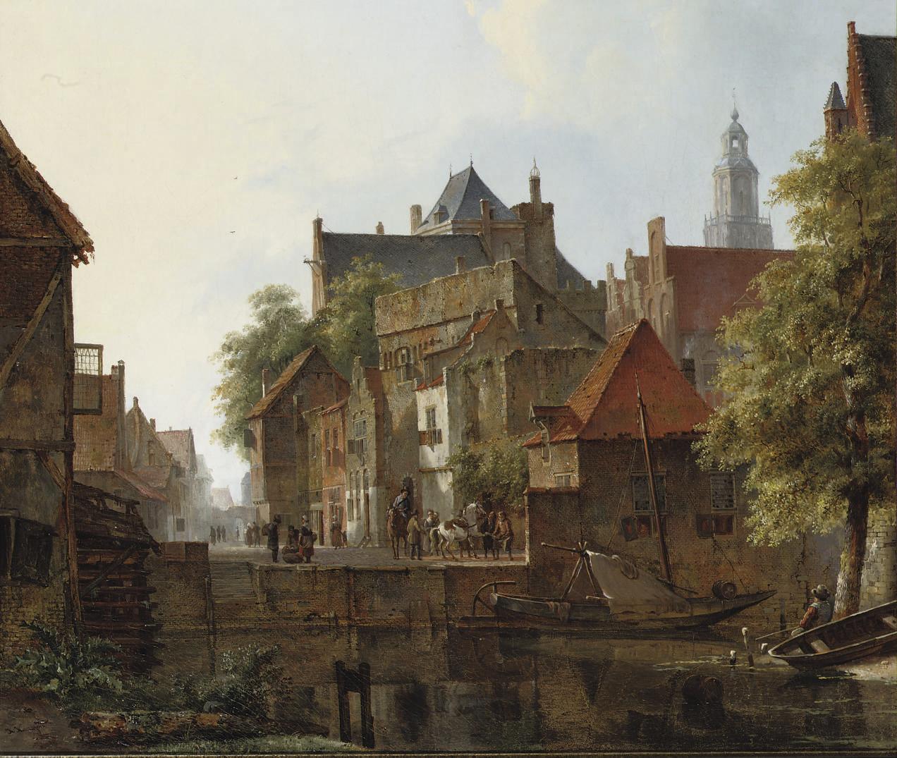 Horsemen on a quay in a Dutch town in summer