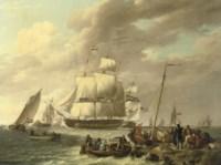 Een Hollands, Amerikaans, Engels, Deens en Zweeds fregat op de Westerschelde: several frigates near a jetty
