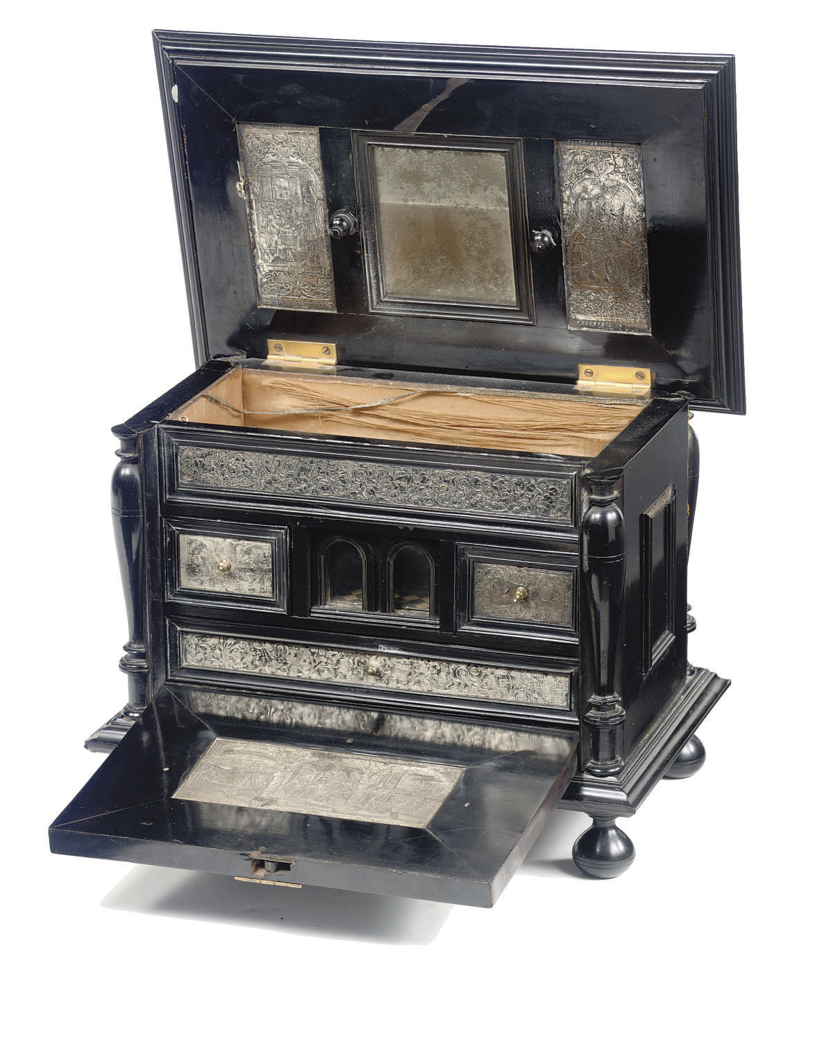 A FLEMISH EBONY AND SILVER TAB