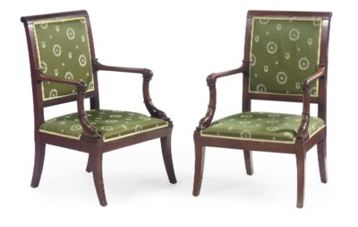 A PAIR OF DUTCH EMPIRE MAHOGAN