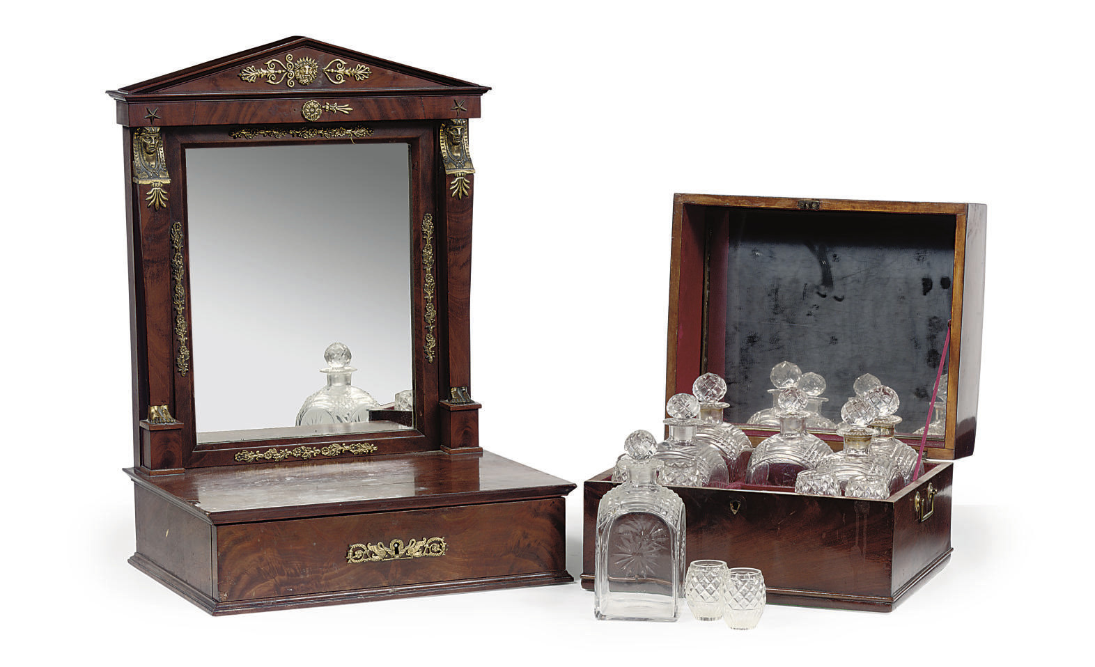 A FRENCH MAHOGANY LIQUOR SET