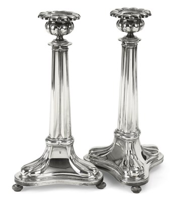 A pair of Dutch silver candles
