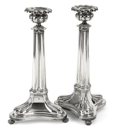 A pair of Dutch silver candles