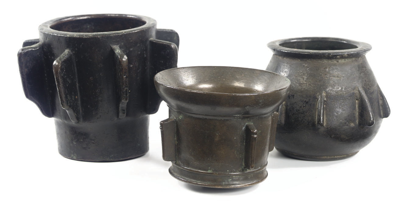 THREE SPANISH BRASS MORTARS