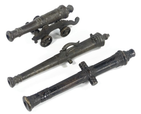THREE VARIOUS BRONZE CANNONS