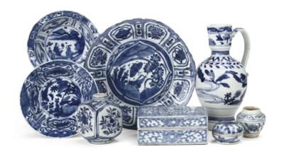An assorted lot of asian blue