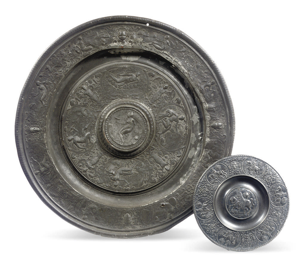 A GERMAN PEWTER RELIEF PLATE