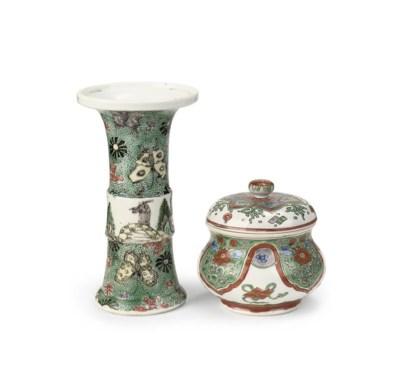 A Chinese famille verte beaker