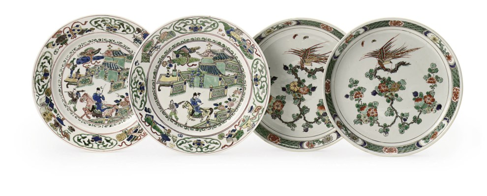 Two Chinese famille verte plat