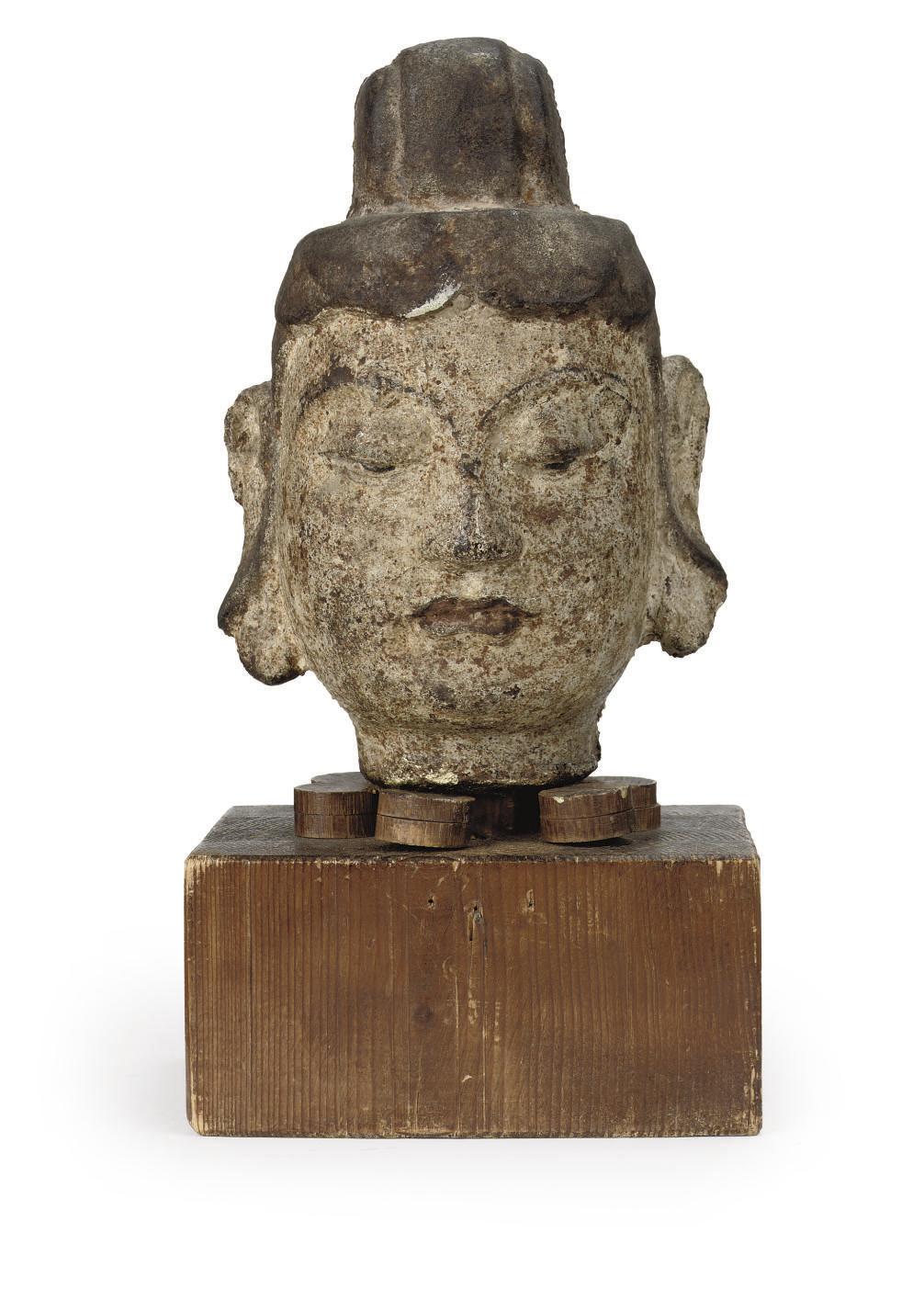 A Chinese iron head of Buddha