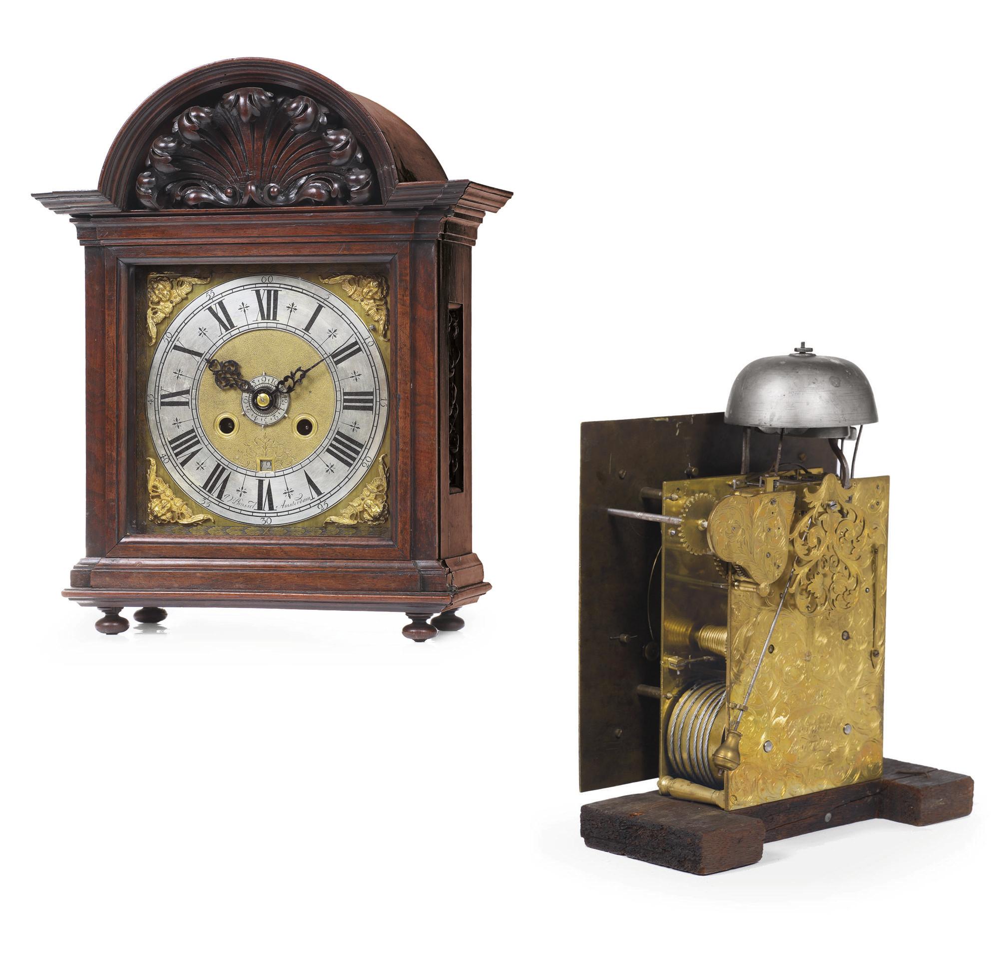 A DUTCH WALNUT STRIKING TABLE CLOCK WITH ALARM