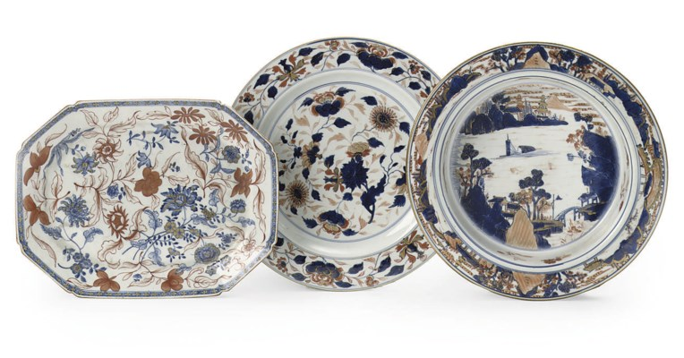 Three Chinese Imari dishes