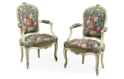 A PAIR OF LOUIS XV WHITE AND G