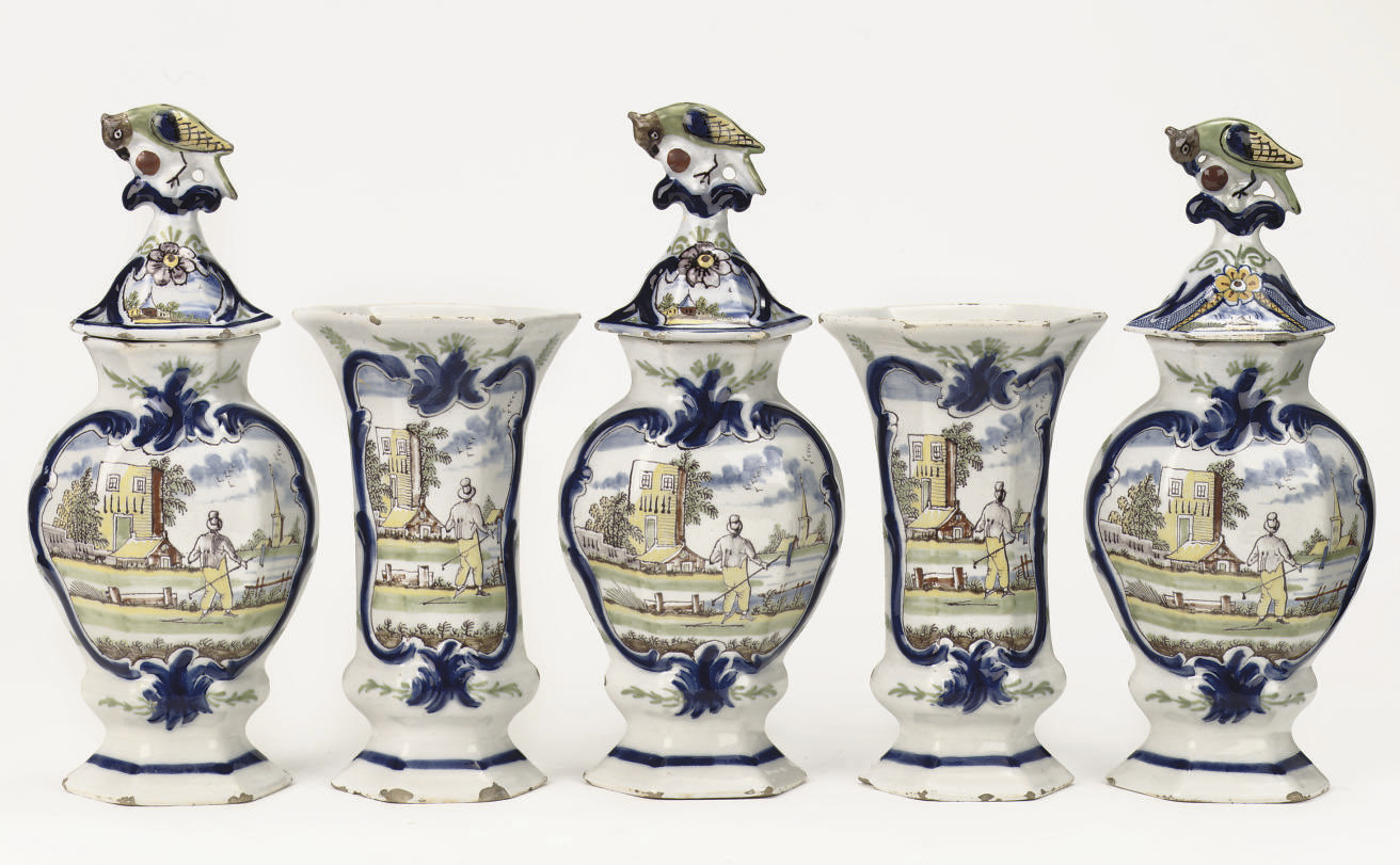 A Dutch Delft polychrome five-