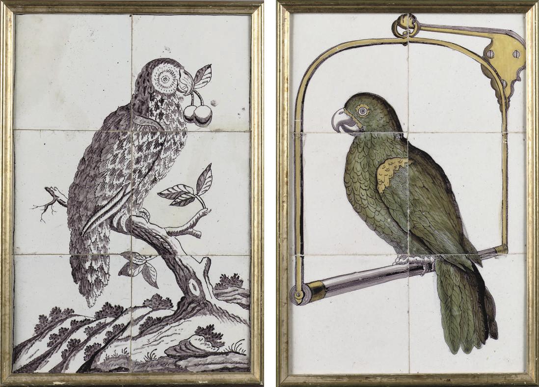 Two Dutch 'parrot' tile pictur