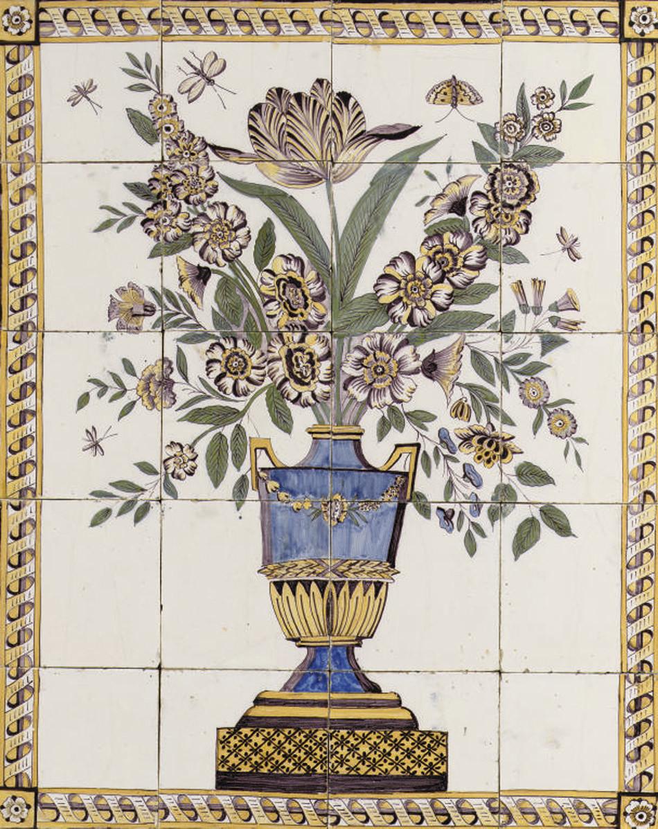 A Dutch flower vase tile pictu