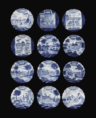 A set of twelve Dutch Delft 'c