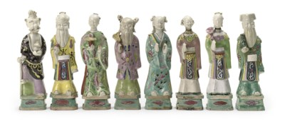 A set of eight Chinese famille