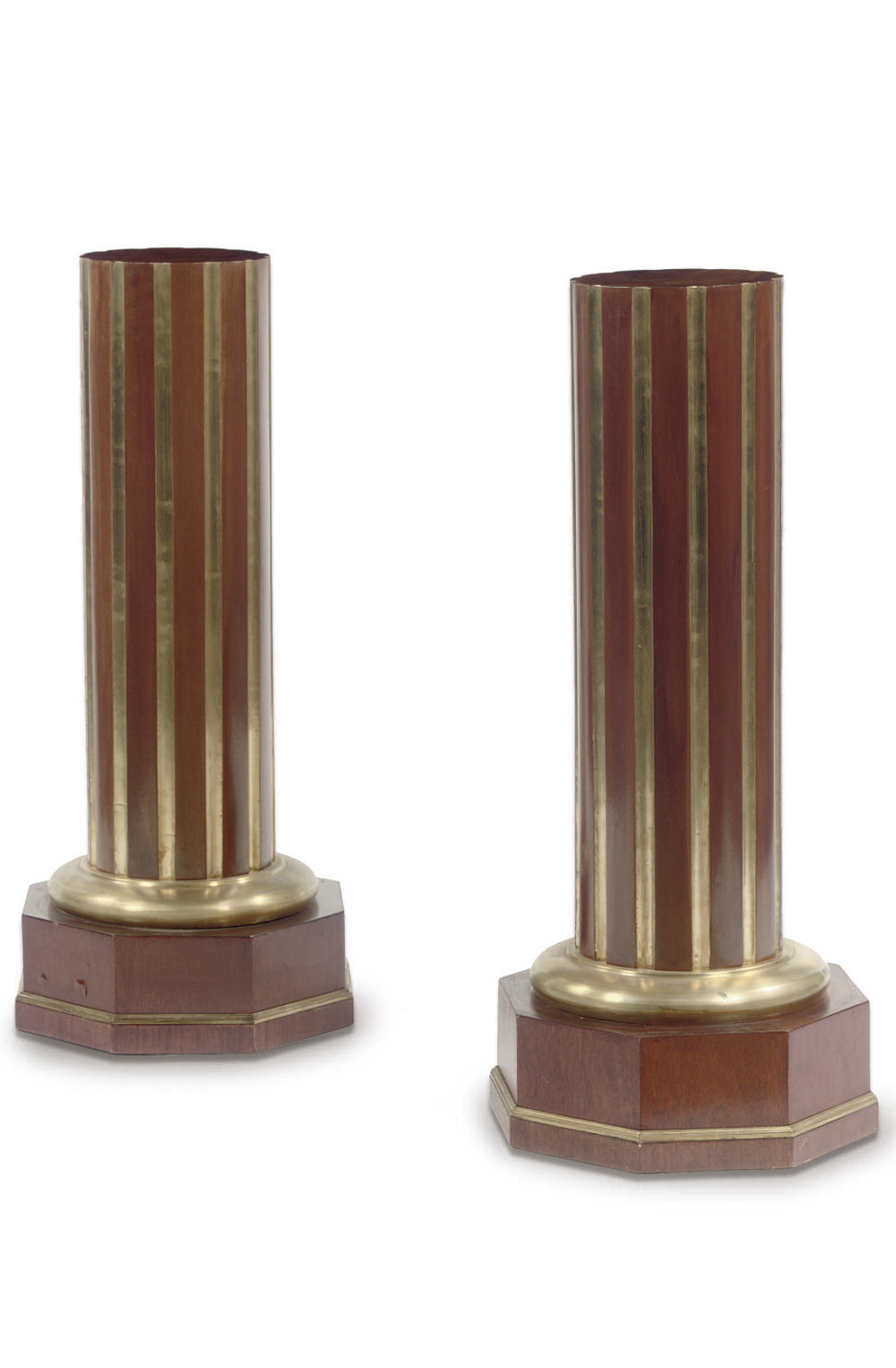 A PAIR OF BRASS-LINED MAHOGANY