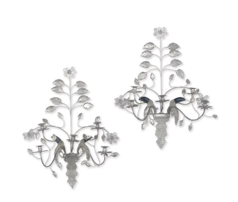 A PAIR OF FRENCH SILVERED ROCK