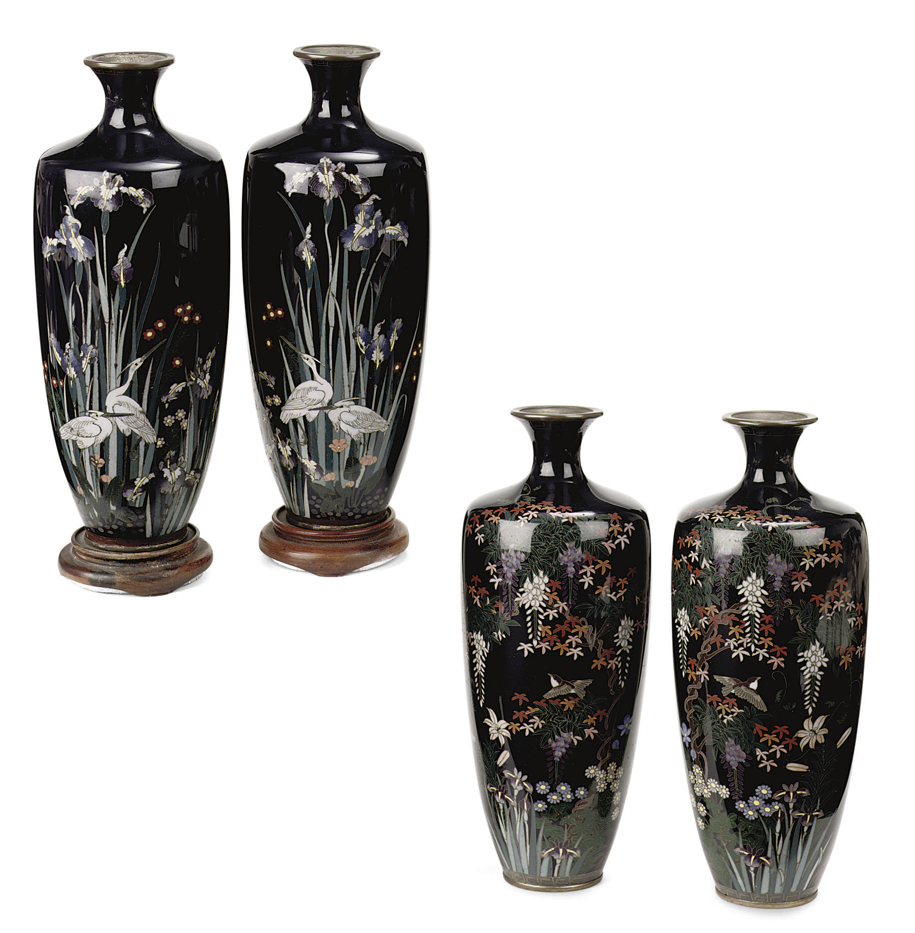 Two pairs of Japanese cloisonn