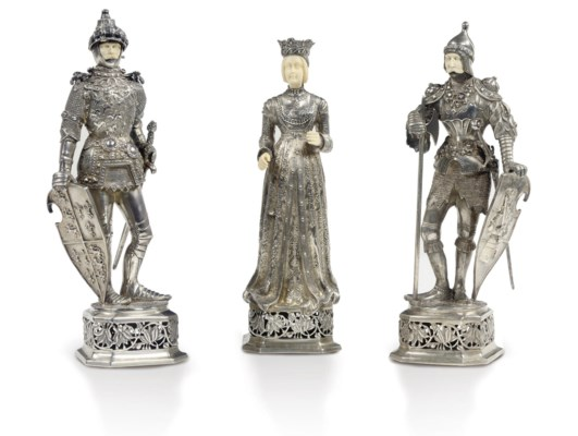 Three German silver and ivory