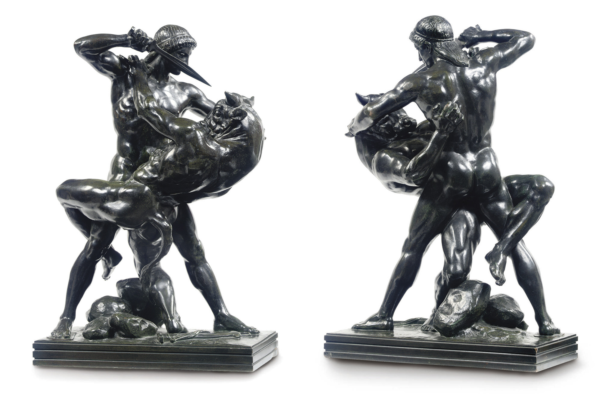 A FRENCH BRONZE GROUP ENTITLED 'THESEE COMBATTANT LE MINOTAURE, SECONDE VERSION'