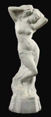 A FRENCH CARVED WHITE MARBLE F