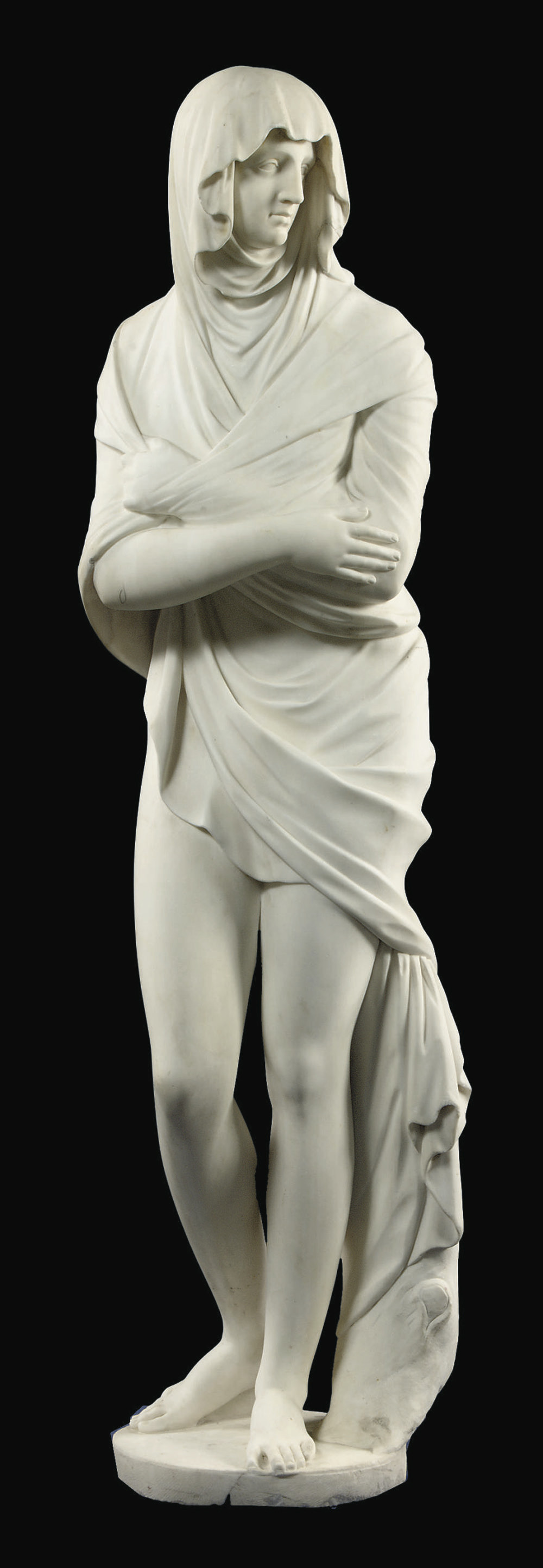 A CARVED MARBLE CLASSICAL FEMA