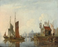 Shipping near Amsterdam, with a ferry on the right
