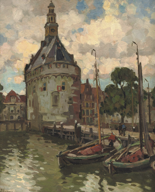 Moored sailing vessels near the Hoofdtoren, Hoorn