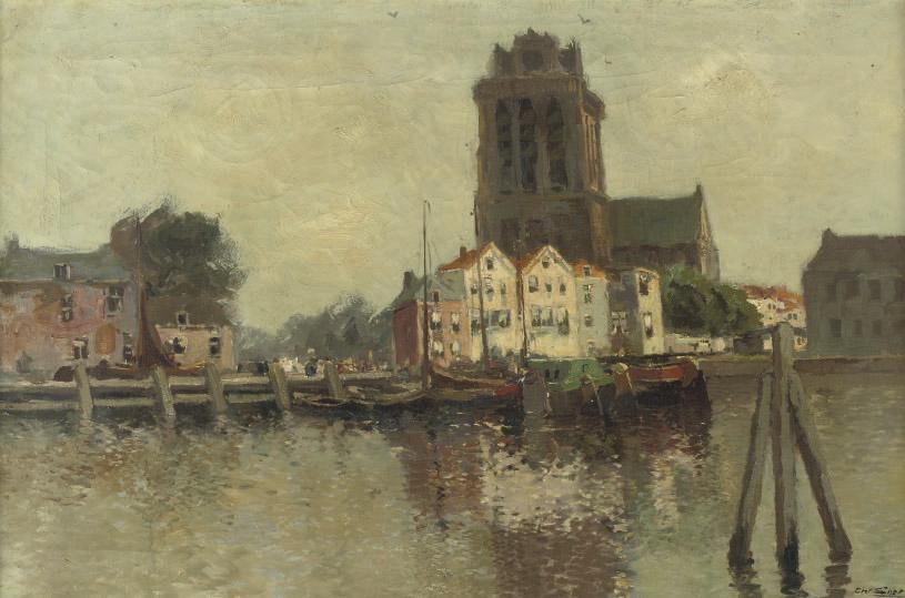 Nieuwe haven, Dordrecht, with the Grote Kerk beyond