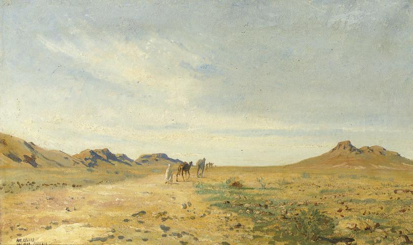 A traveller in the desert of Chellala, Algeria