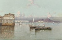 Fishermen in the bay of Naples, the Vesuvius in the distance