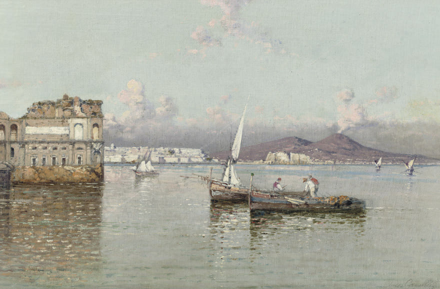 Fishermen in the bay of Naples, the Vesuvius in the distance