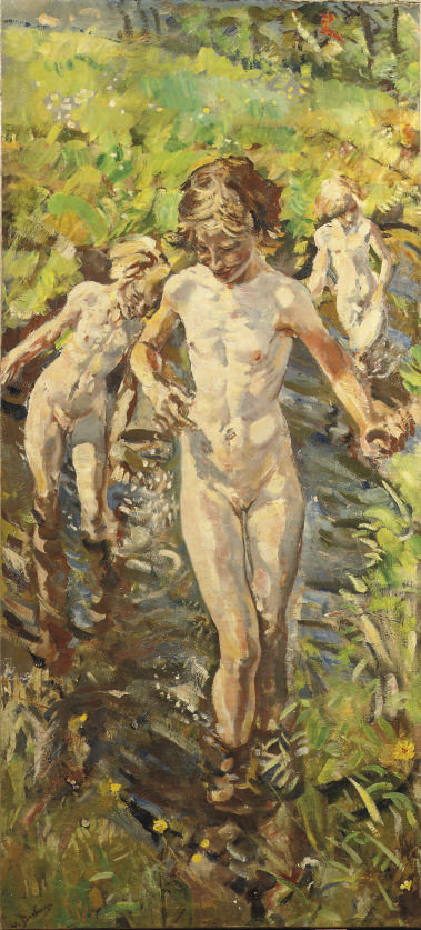 Children bathing in the river Aa