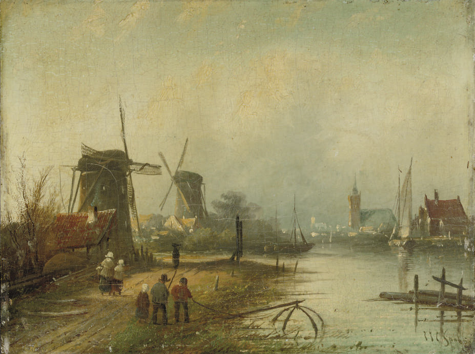 Wind mills in a river landscape