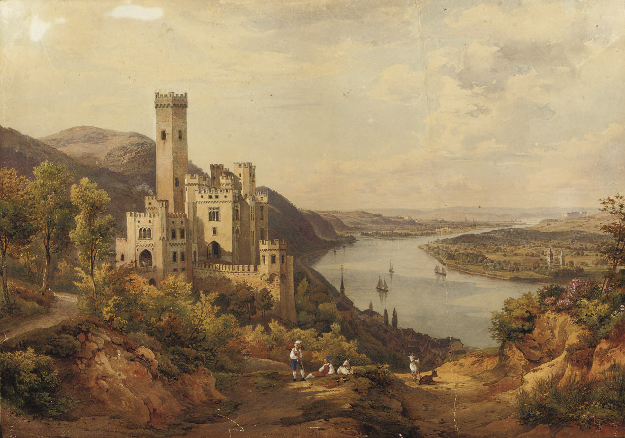 A panoramic river landscape with a castle
