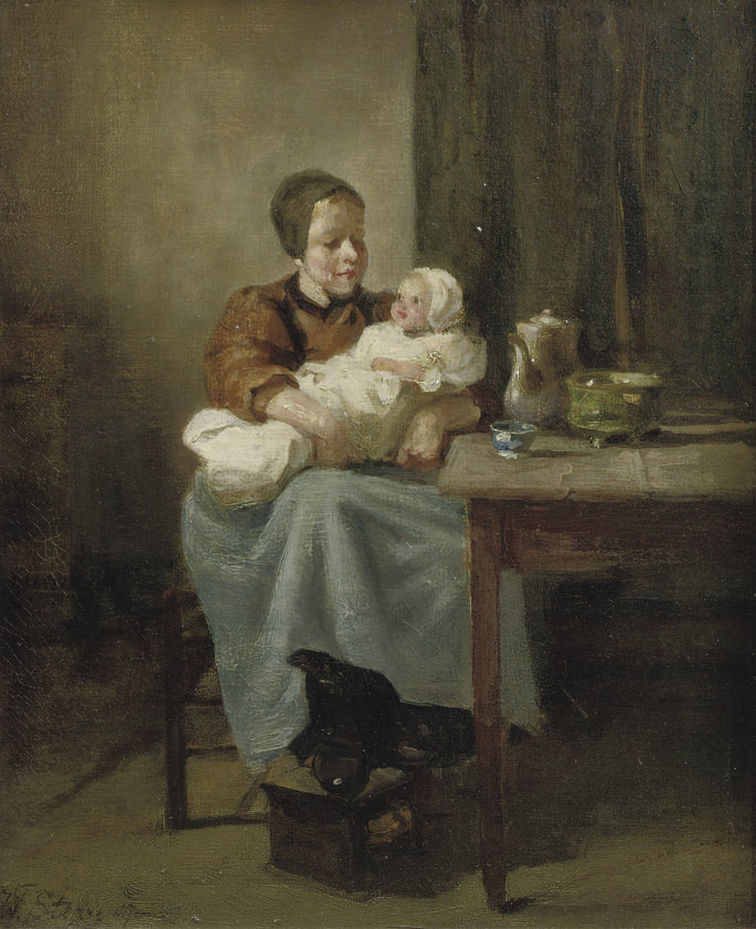 A Dutch interior with two sisters
