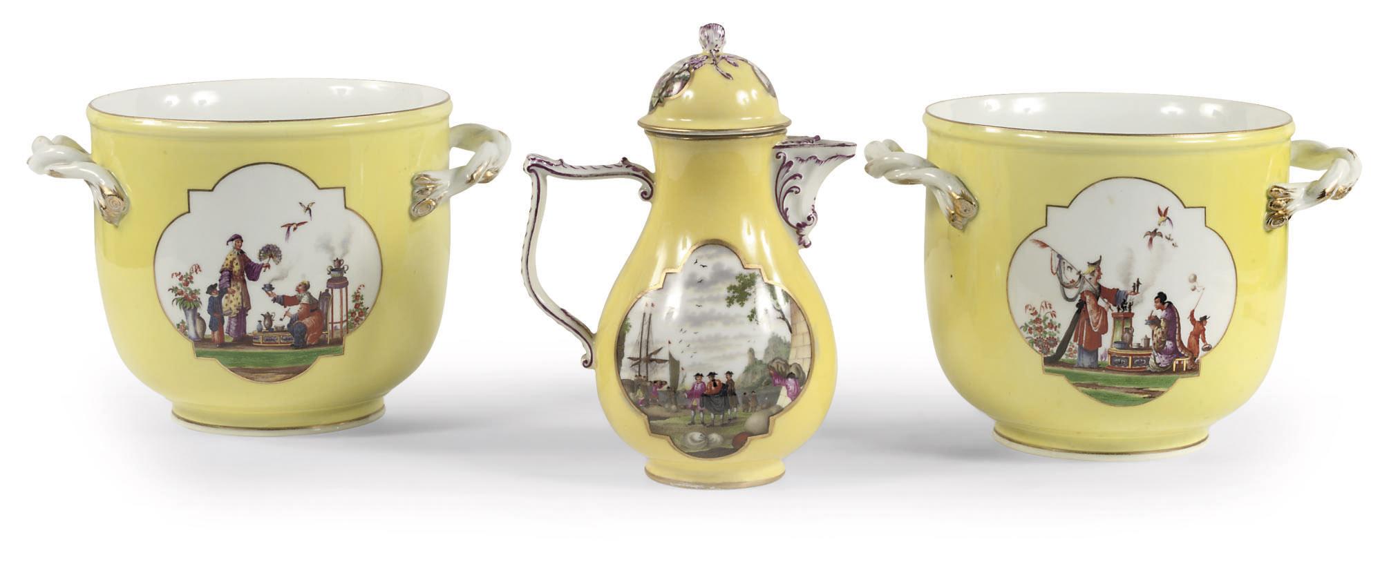 A Meissen porcelain yellow gro