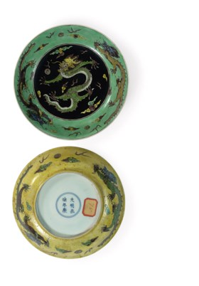 A pair of Chinese biscuit famille verte saucer dishes