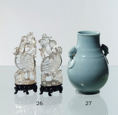 A pair of Chinese rock crystal