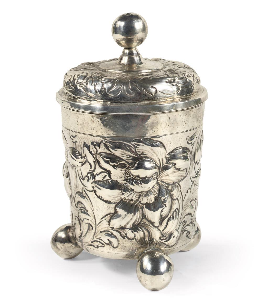 A German silver beaker and cov