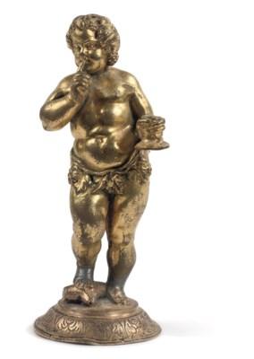 A gilt-bronze figure of Bacchu